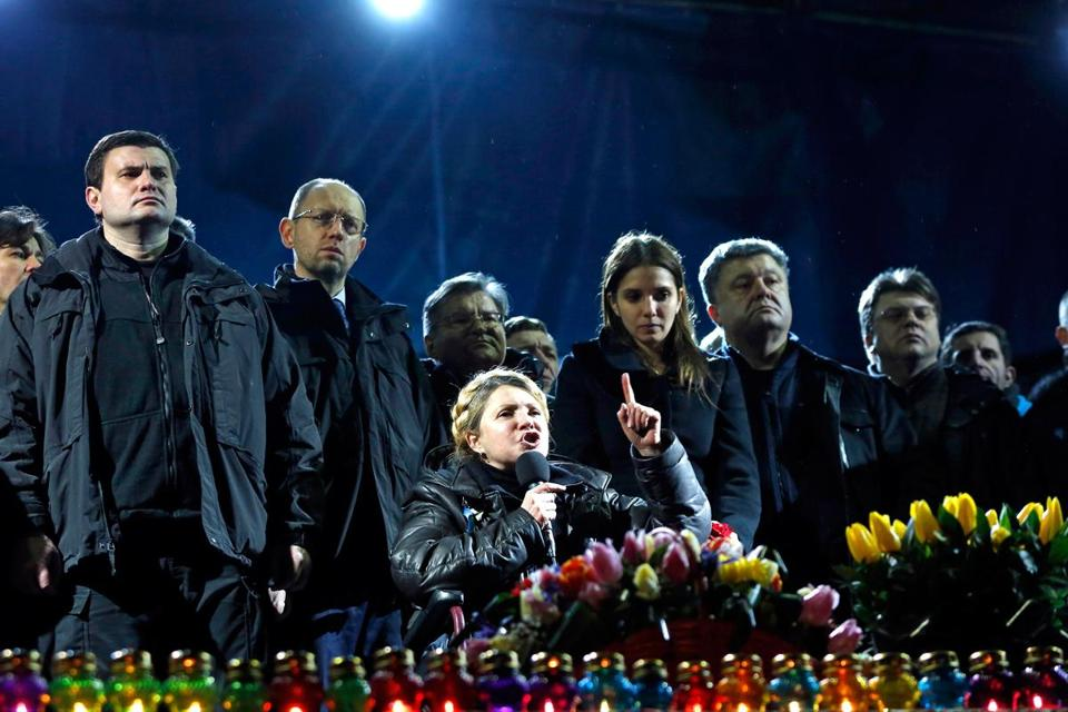 Opposition leader and ex-prime minister Yulia V. Tymoshenko,  just freed from a prison hospital, addressed protesters.