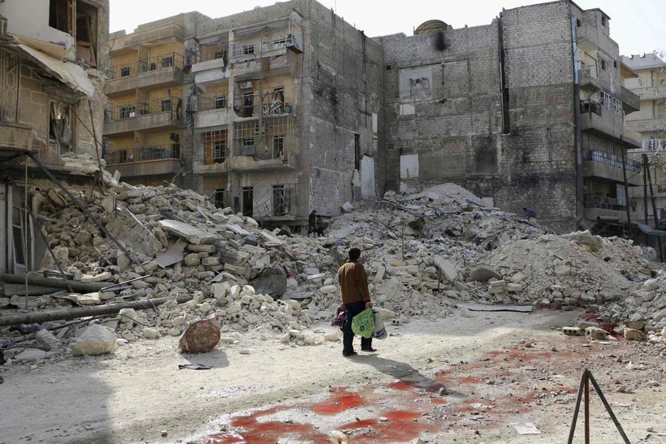 Activists said an airstrike by forces loyal to Syrian President Bashar Assad inflicted damage in a neighborhood of Aleppo.