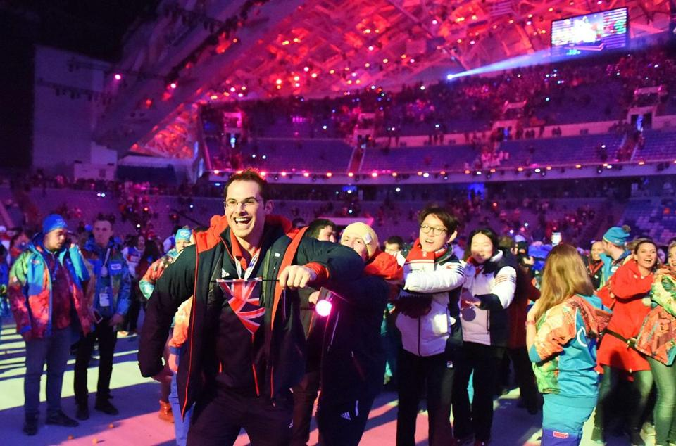 Athletes celecbrated during the closing ceremony.