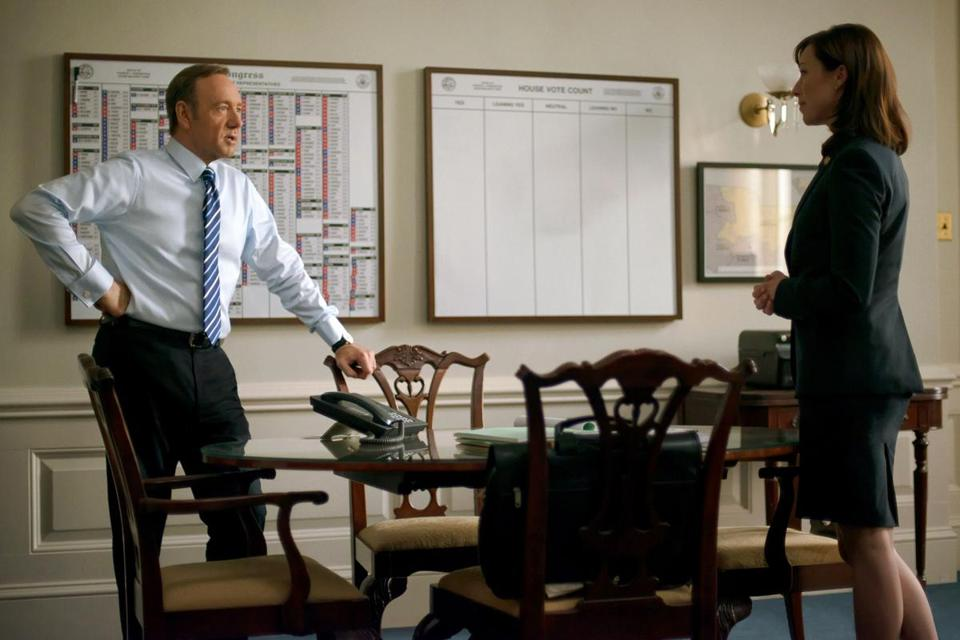 "Kevin Spacey and Molly Parker in ""House of Cards,"" a Netflix hit in its second season."