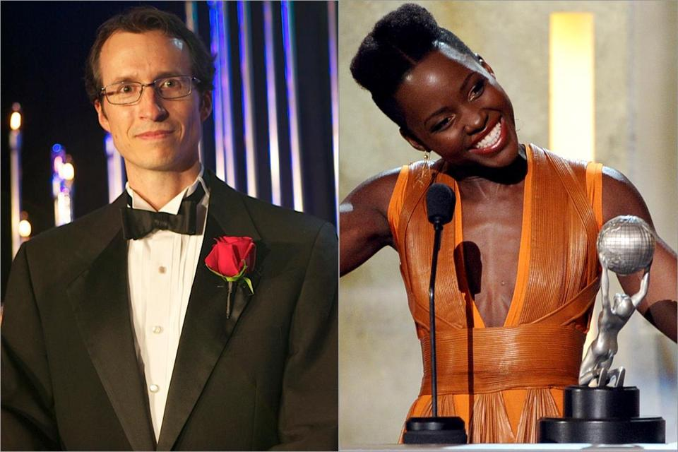 From left: Hampshire College professor Chris Perry and grad Lupita Nyong'o, Academy honoree and nominee, respectively.