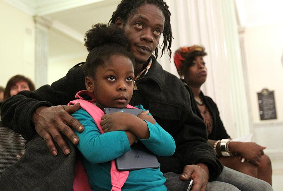 Preshiox-G'Ani Waite, 4, was at the State House Monday with her parents, Garrett Waite and Naromi Occeus. The family lived in a shelter for 27 months.