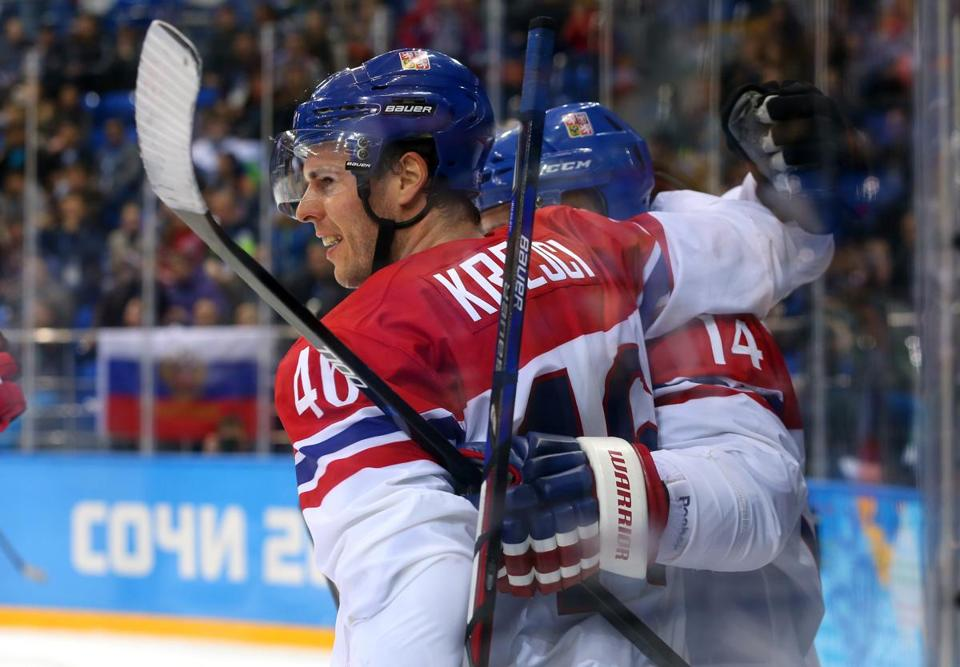 David Krejci's Czech Republic team got as far as the Olympic quarterfinals, losing to the US.by Quinn Rooney/Getty Images)