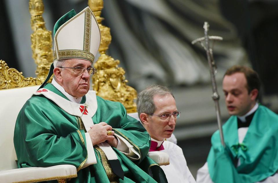 Pope Francis celebrated mass at Saint Peter's Basilica on Sunday.