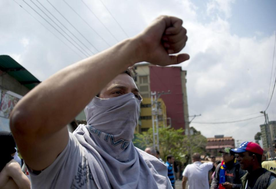 Venezuelan demonstrators chanted harangues against the government.