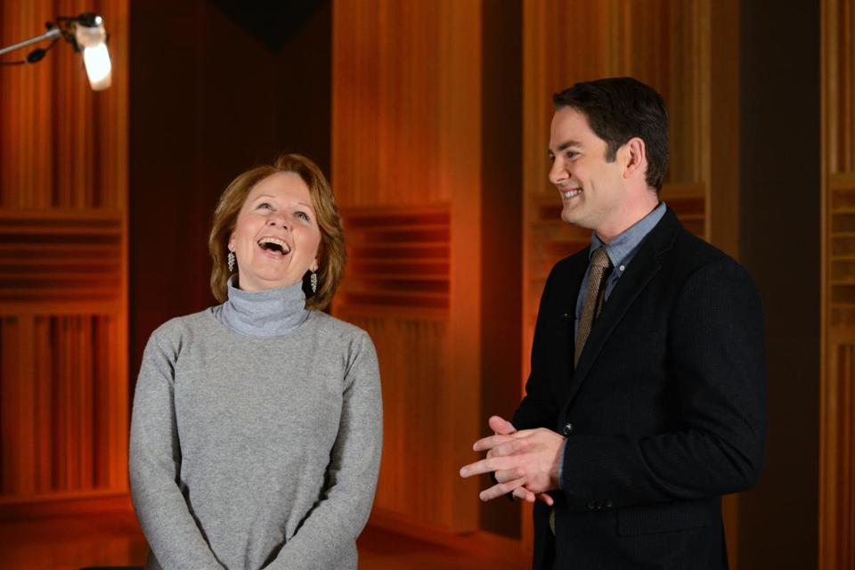 Kate Burton (left) with Jared  Bowen.