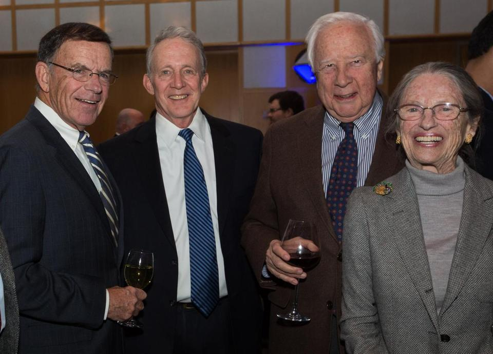 From left: Former US Senator Paul Kirk, Tom McNaught, and David and Rosalee McCullough at the VIP gathering.