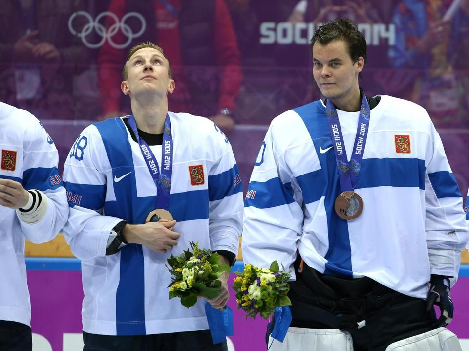 Rask (right) returned from Sochi, Russia, after earning a bronze medal with Team Finland