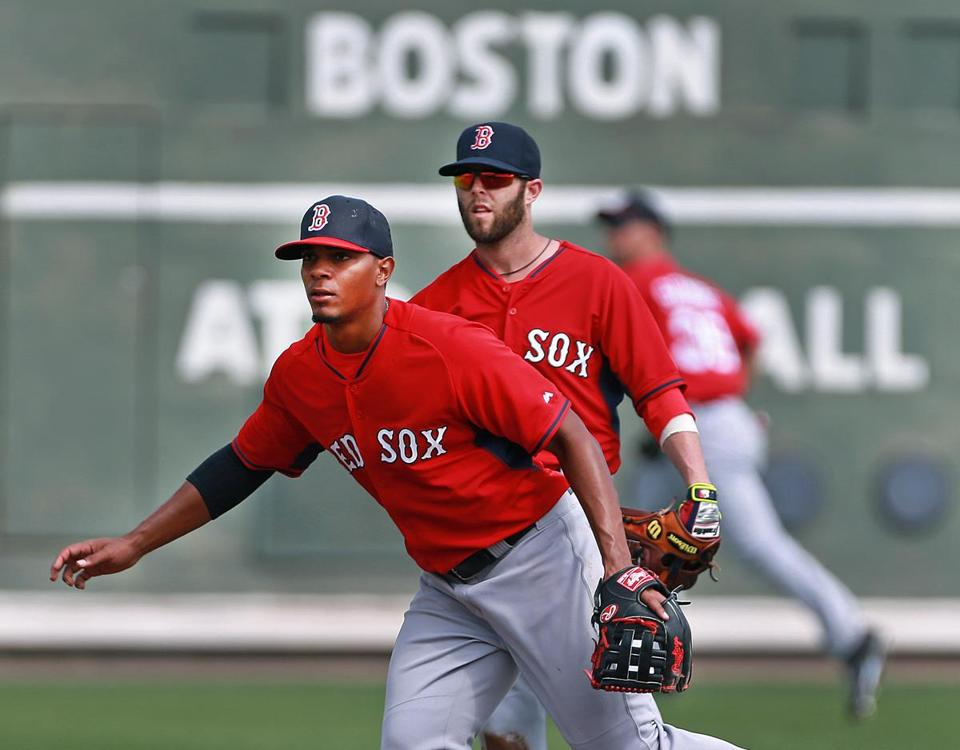 Perhaps Xander Bogaerts and Dustin Pedroia will be together for a long time. (Jim Davis/Globe Staff).