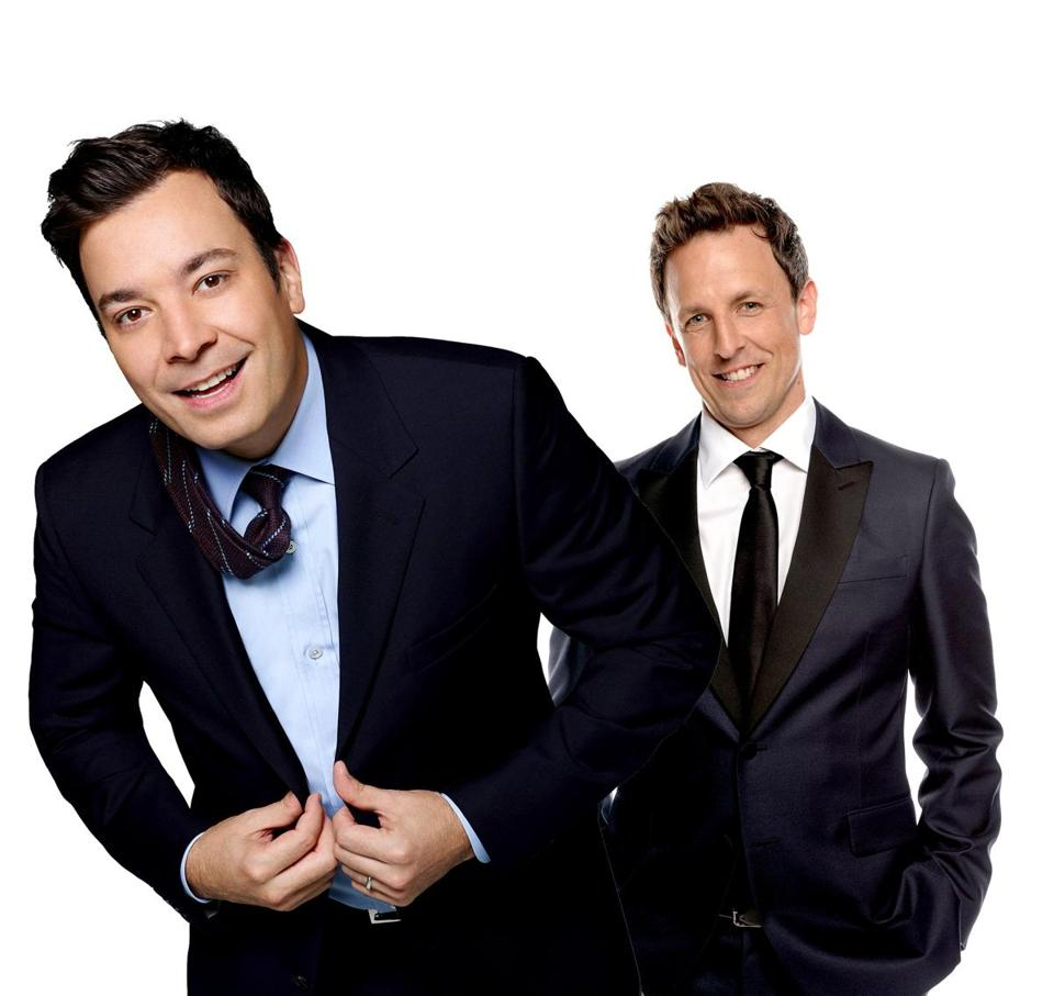 Pictured: left Jimmy Fallon and Seth Meyers.