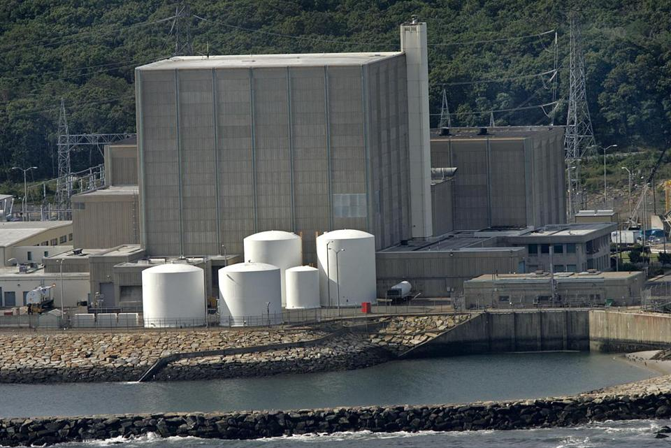 The Pilgrim nuclear power plant on Plymouth's seashore.