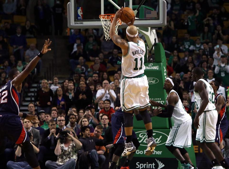 Jerryd Bayless hit a 17-foot jumper with 41.9 seconds to go to put the Celtics up 113-102.