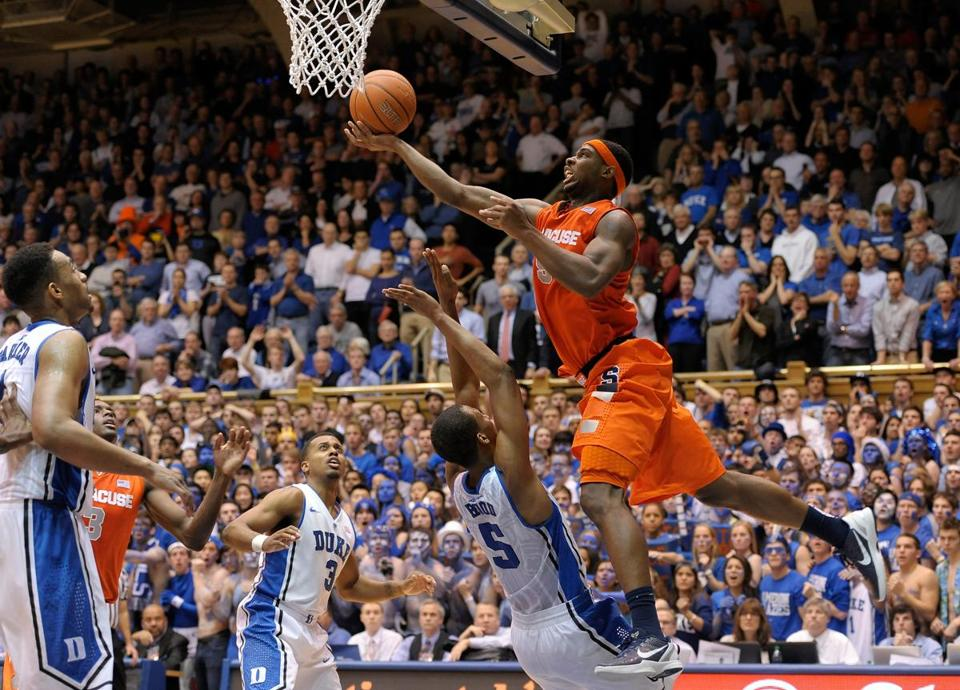 C.J. Fair of Syracuse was called for this charging foul against Duke on Feb. 22.