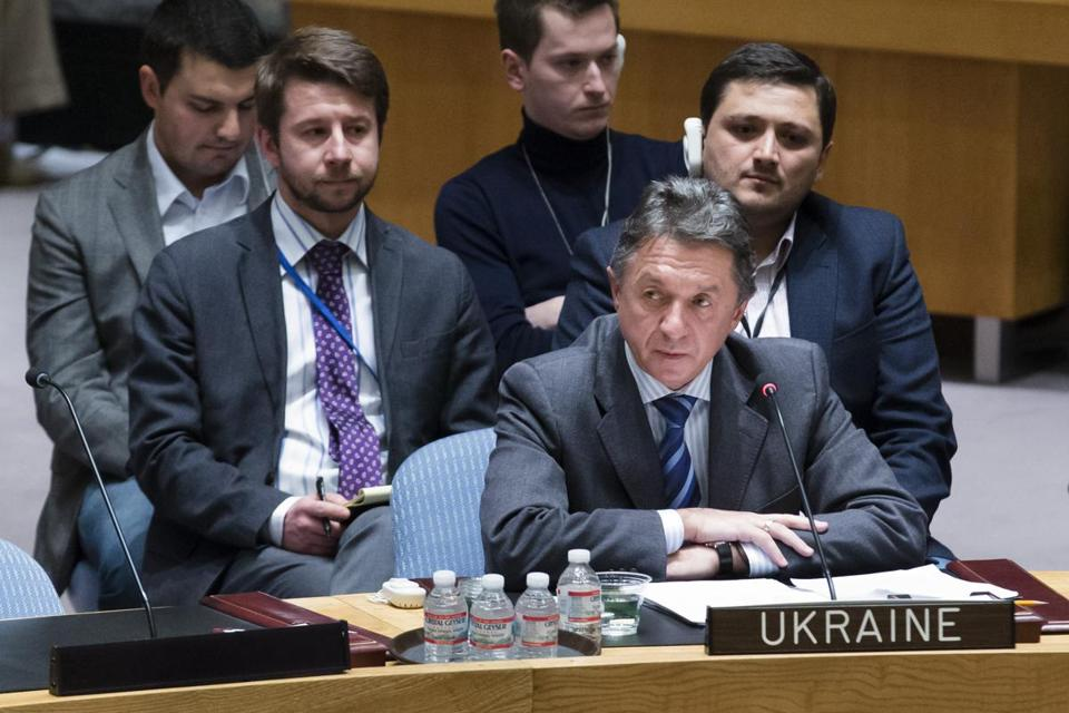 Ukraine's UN Ambassador Yuriy Sergeyev spoke during a Security Council meeting on his country's political crisis.