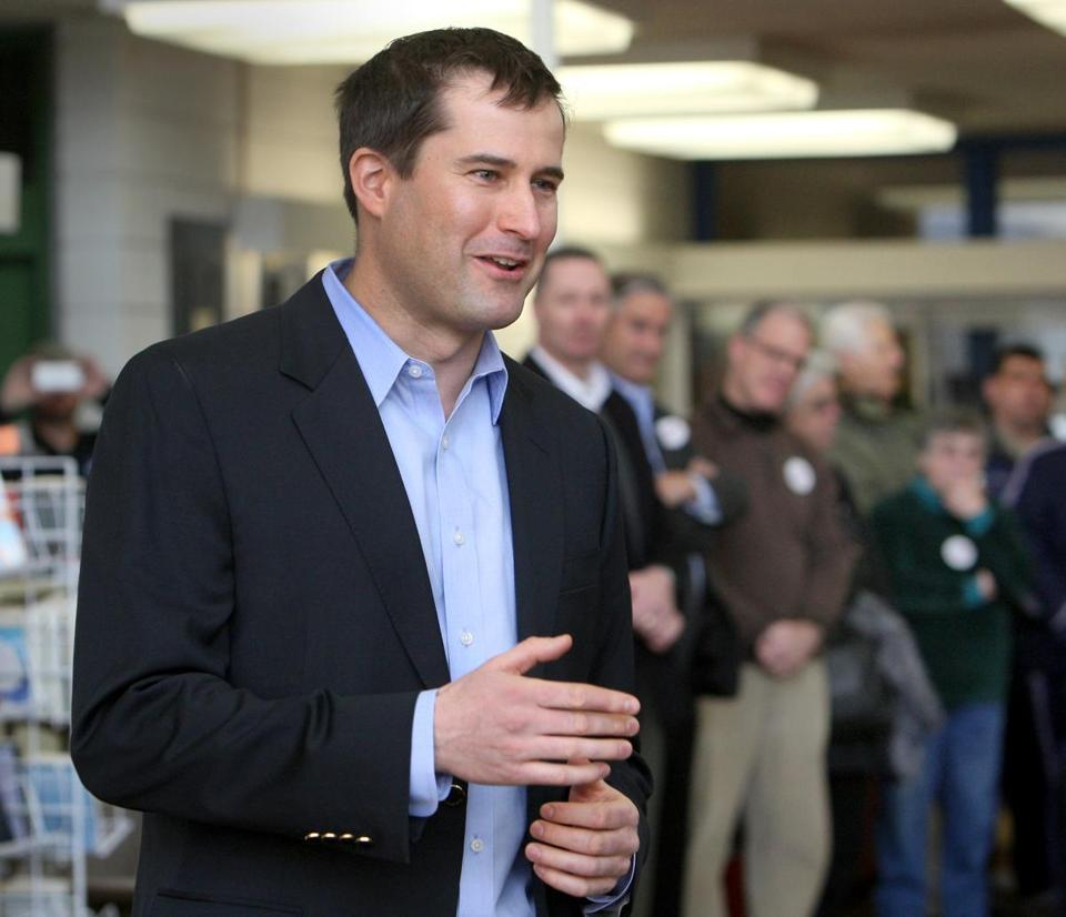 Congressional candidate Seth Moulton attends a Democratic caucus at Salem High School in March.