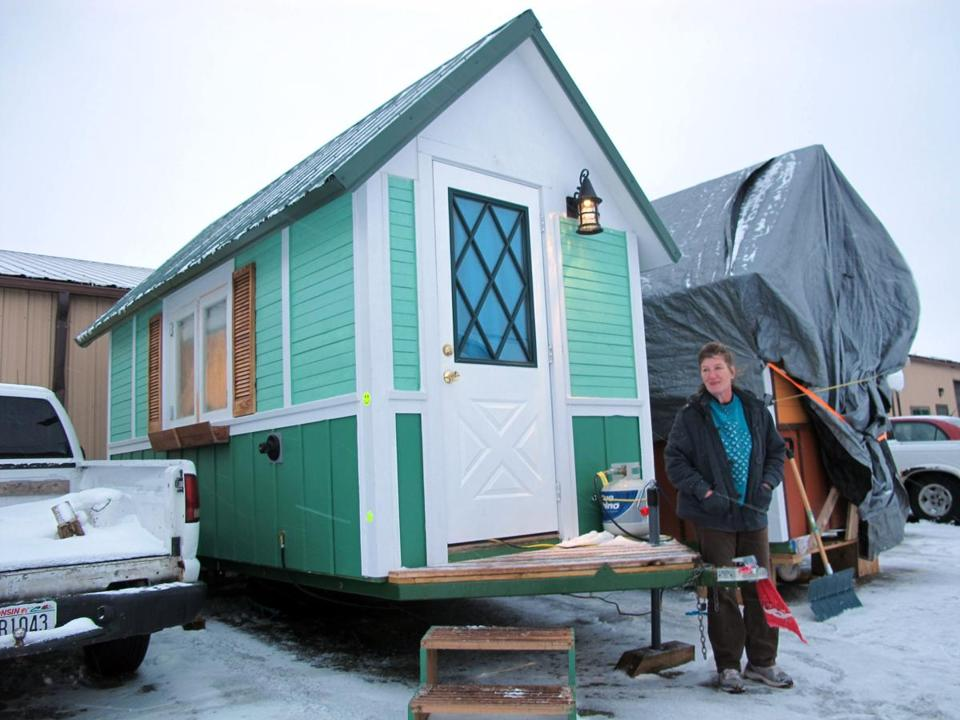 Betty Ybarra, 48, and her boyfriend live in this tiny house built by OM Build in Madison, Wis.