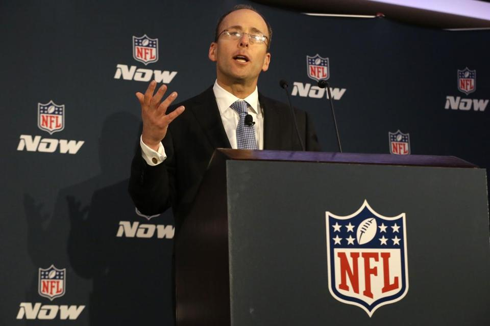 Jonathan Kraft spoke during a news conference on Jan. 30, 2014, before last year's Super Bowl.