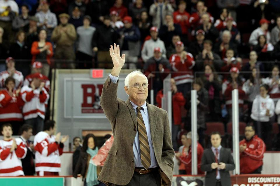 Jack Parker walked onto the ice at Agganis Arena before his number was retired in 2014.