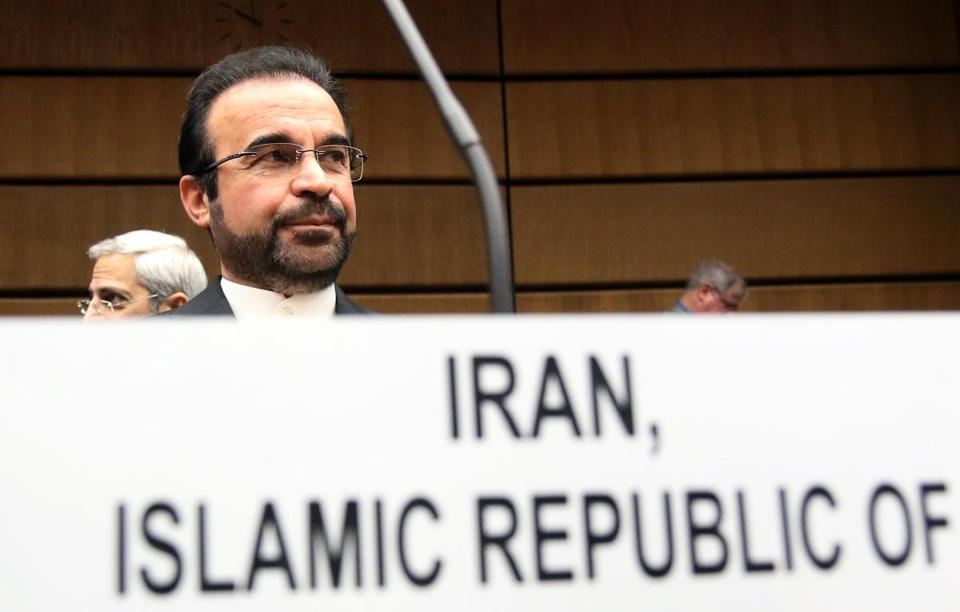 Iran's Ambassador to the International Atomic Energy Agency, Reza Najafi, waited for the start of the IAEA board of governors meeting.