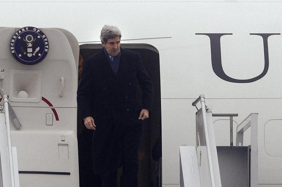 Secretary of State John Kerry arrives in Kiev as the Ukrainian government grapples with a Russian military takeover of Crimea.