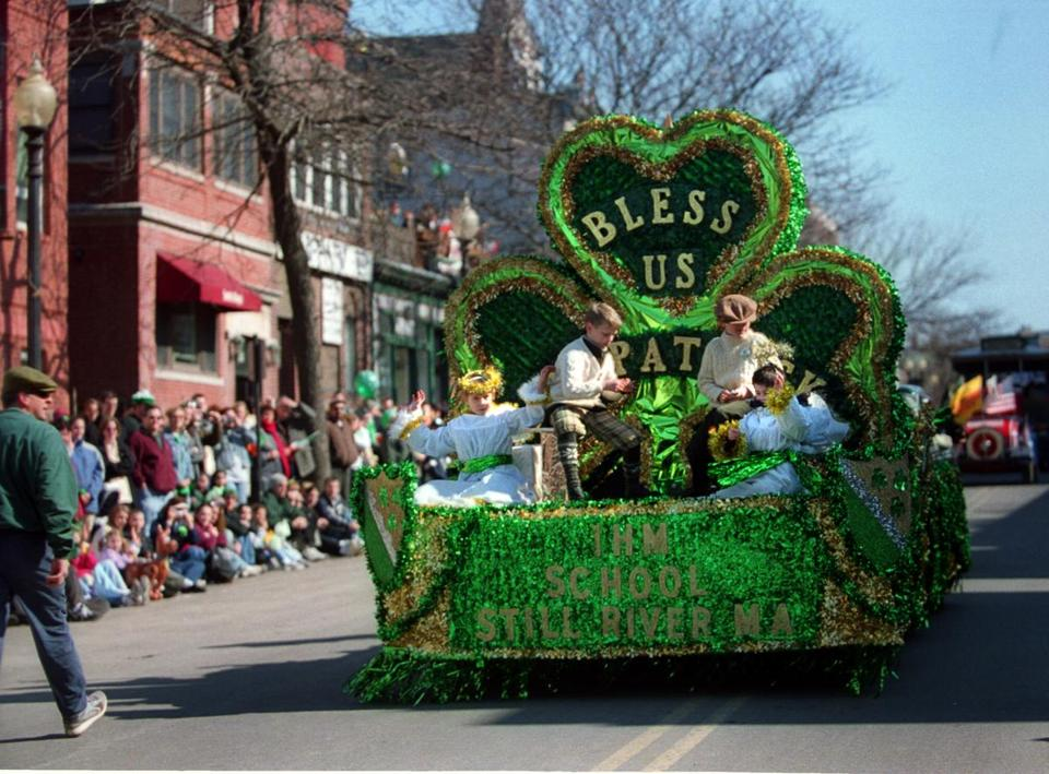 A float from the Immaculate Heart of Mary School was in the 2003 Saint Patrick's Day parade in South Boston.