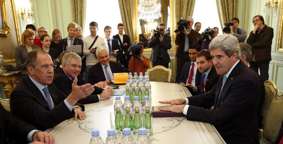 Secretary of State John Kerry and Russian Foreign Minister Sergey Lavrov (left) met in Paris on Wednesday.