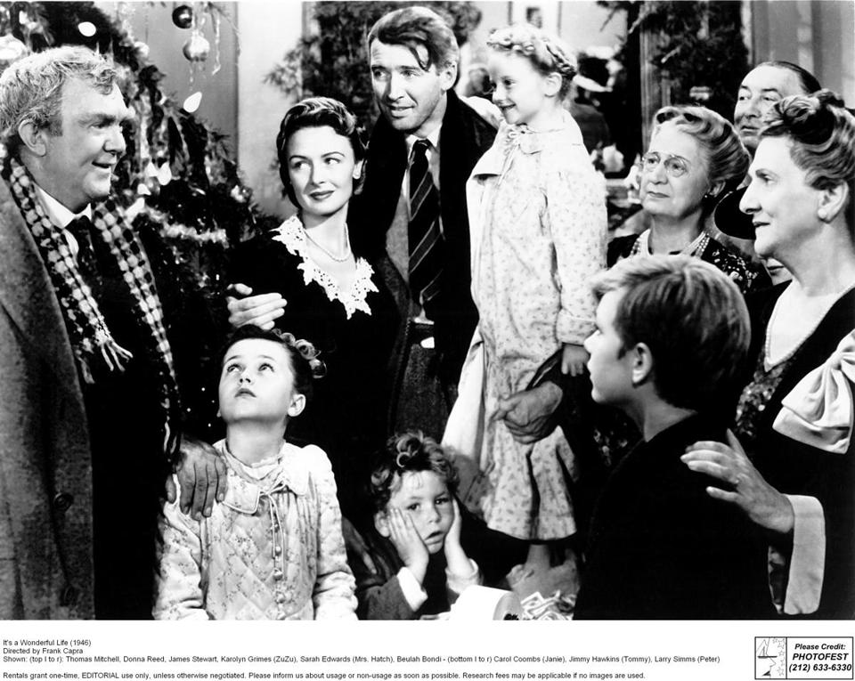 "George Bailey, played by James Stewart (center) in ""It's a Wonderful Life,"" was good to the people around him."