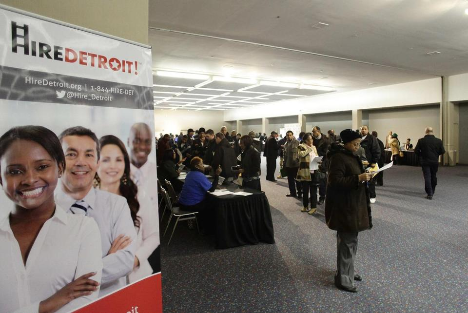 A job fair in Detroit. More jobs were created last month than in the previous two.