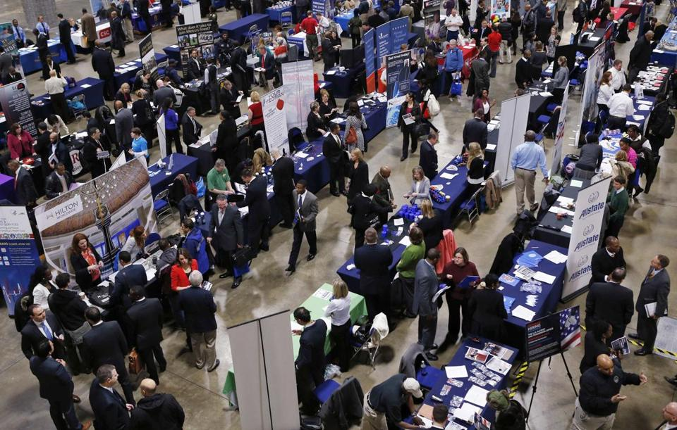 A job fair for those in the military in Washington, D.C., in January.