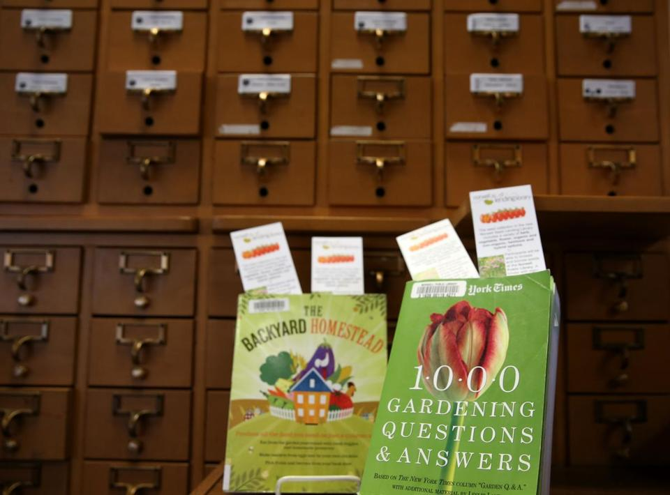 Norwell Public Library has an old card catalog cabinet that is used to hold seed packets for a seed-lending program.