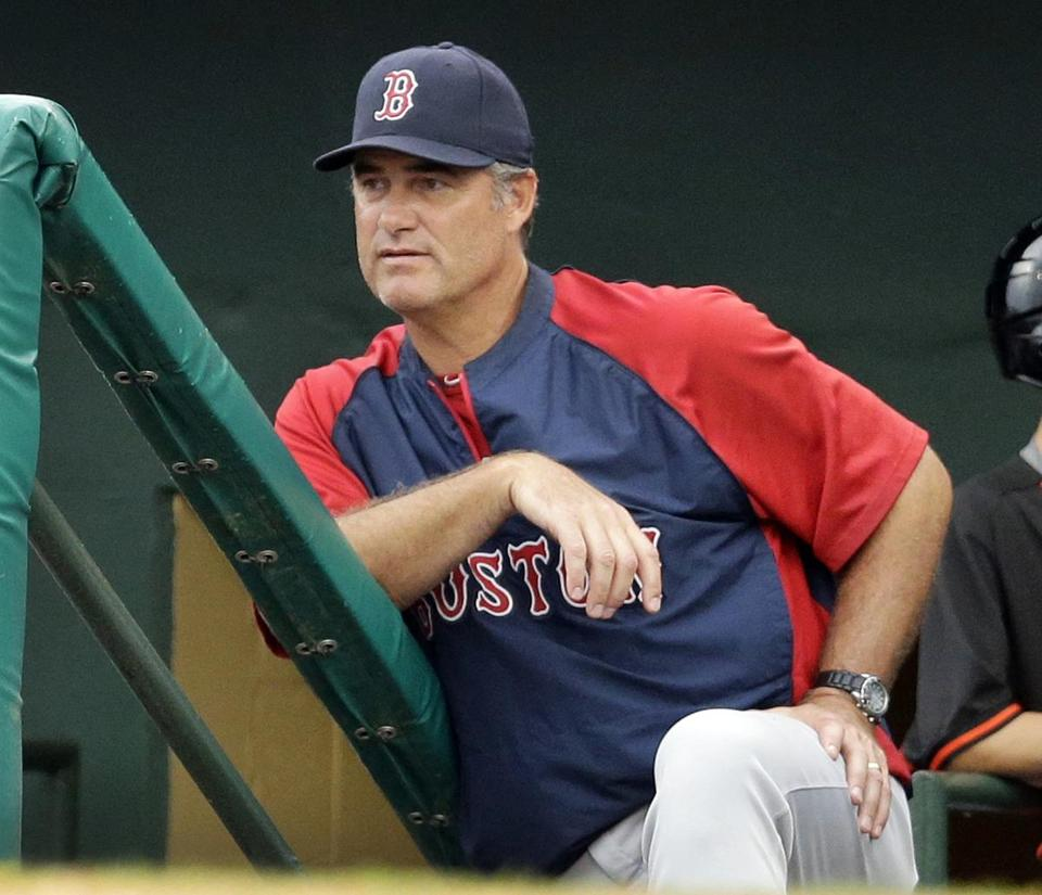 John Farrell watched from the dugout during the seventh inning of Thursday's game.