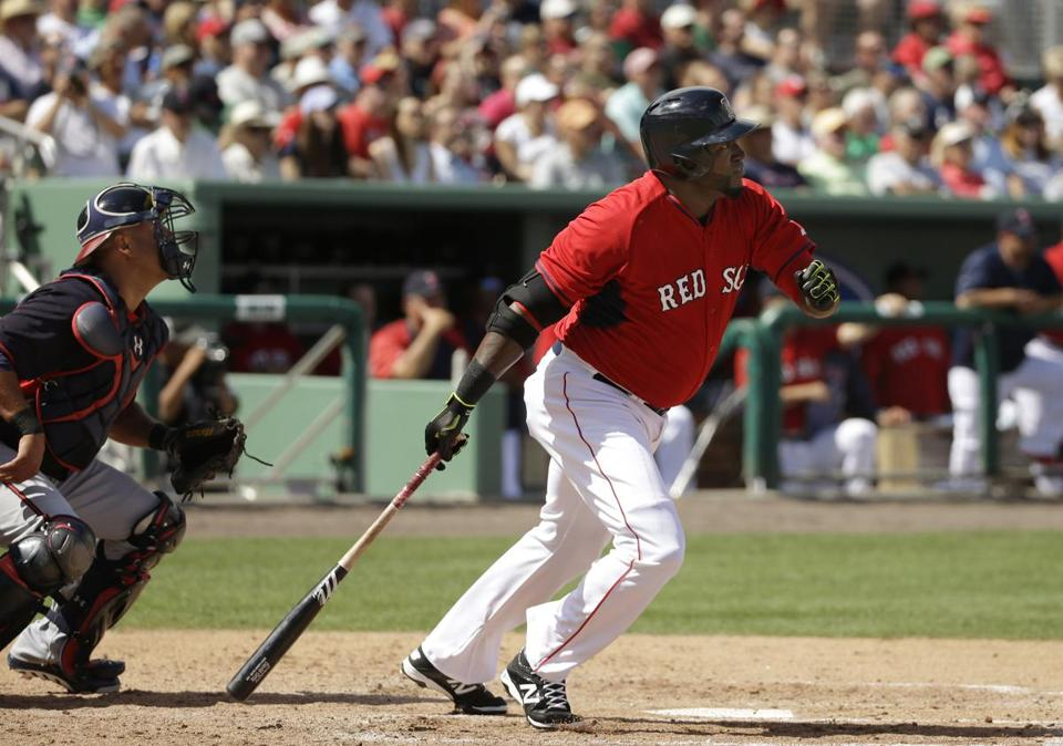 David Ortiz connects for his first hit of the spring ,a double to center in the fourth inning. (AP Photo/Steven Senne)