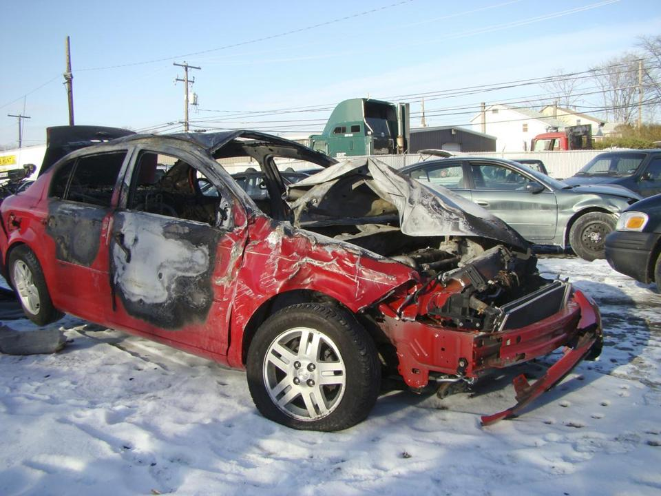 The driver of this 2005 Cobalt was killed in an accident in Pennsylvania in 2010. The victim's family received a GM recall notice citing failures in the power steering system.