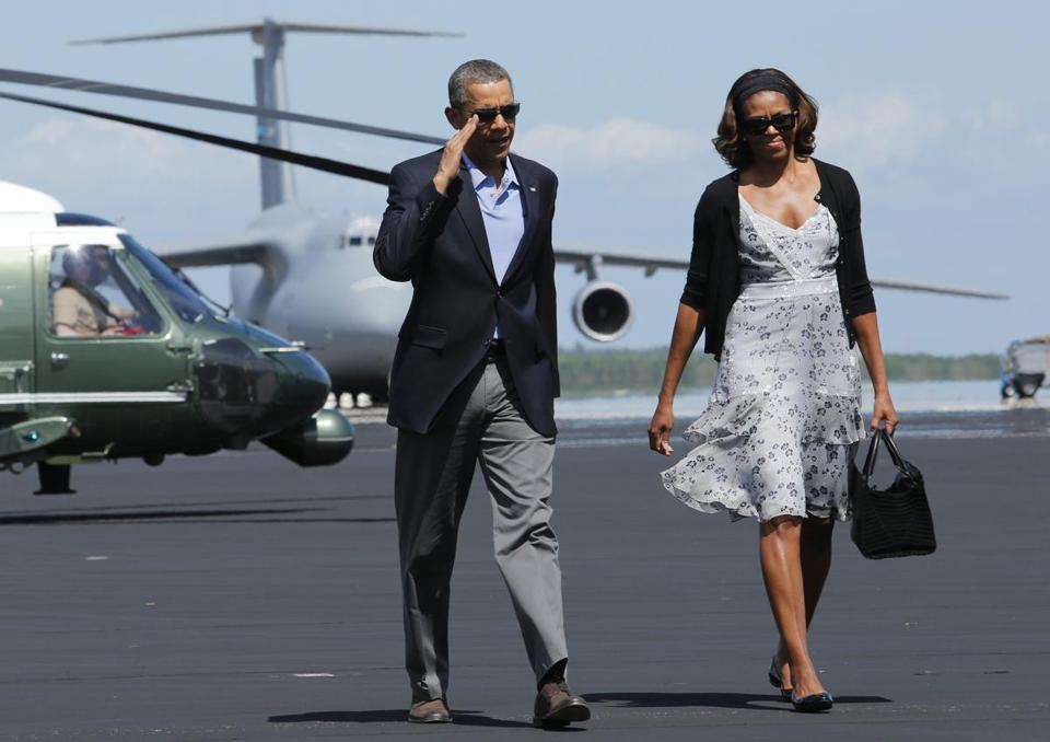 President Obama and first lady Michelle Obama arrived to board Air Force One at Homestead Air Reserve Base in Florida.