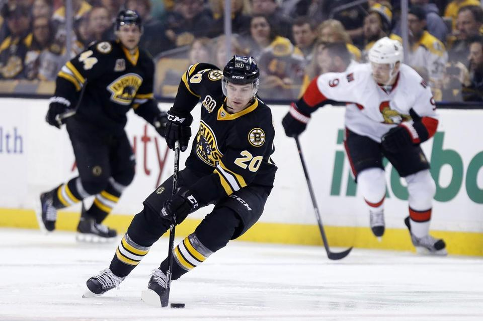 Daniel Paille, pictured in a 2013 game against the Senators, was injured in the first period of the Bruins' game against the Panthers.