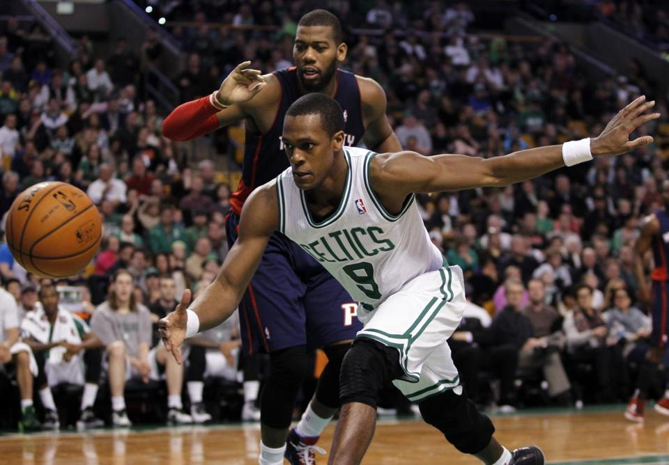 Rajon Rondo grabbed a loose ball from the Pistons' Greg Monroe.