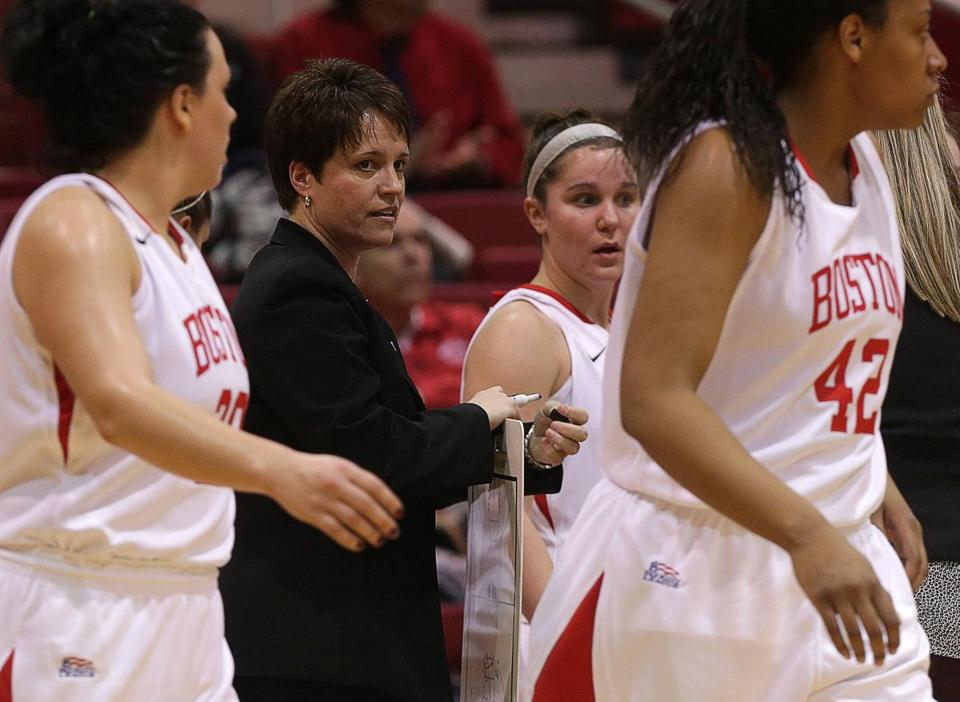 BU women's basketball coach Kelly Greenberg speaks to her team during a recent game.