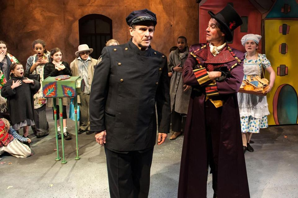 "Jeremiah Kissel (left) as a good-natured policeman and John F. King as the evil organ grinder of the title in ""Brundibár"""