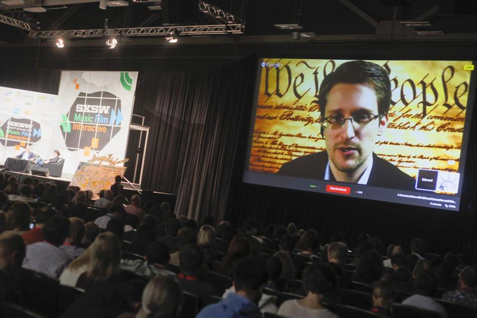 Edward Snowden spoke during a simulcast conversation at the SXSW Interactive Festival on Monday, March 10, 2014, in Austin, Texas.