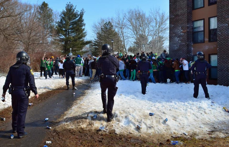 Police surrounded participants in the Blarney Blowout party.