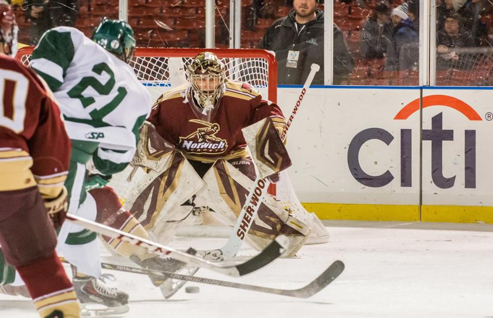 Norwich University senior Chris Czarnota of Wakefield has backstopped the team during its stretch run this season.