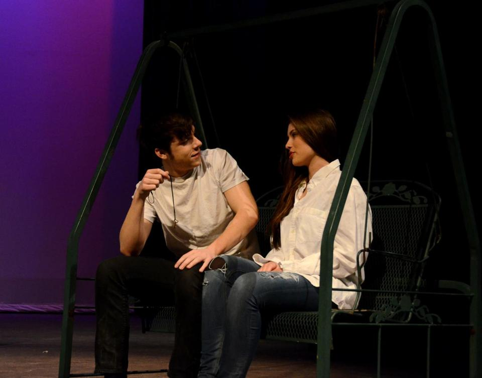 "Duxbury High actors Jared McCourt and Skyler Wright rehearse a scene for ""Proof,"" which will be performed at the Duxbury Performing Arts Center."