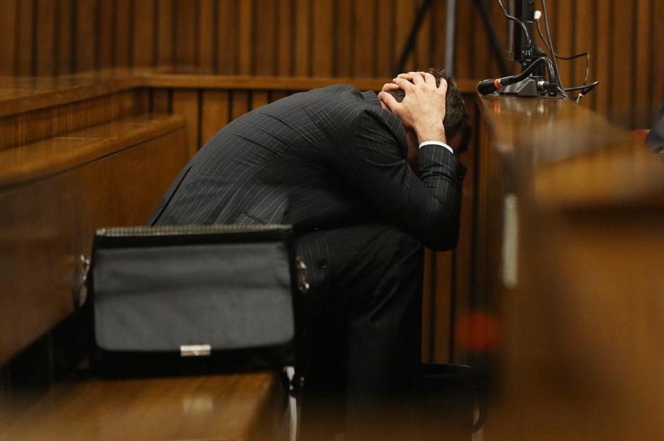 Oscar Pistorius held his head low during his murder trial Monday.