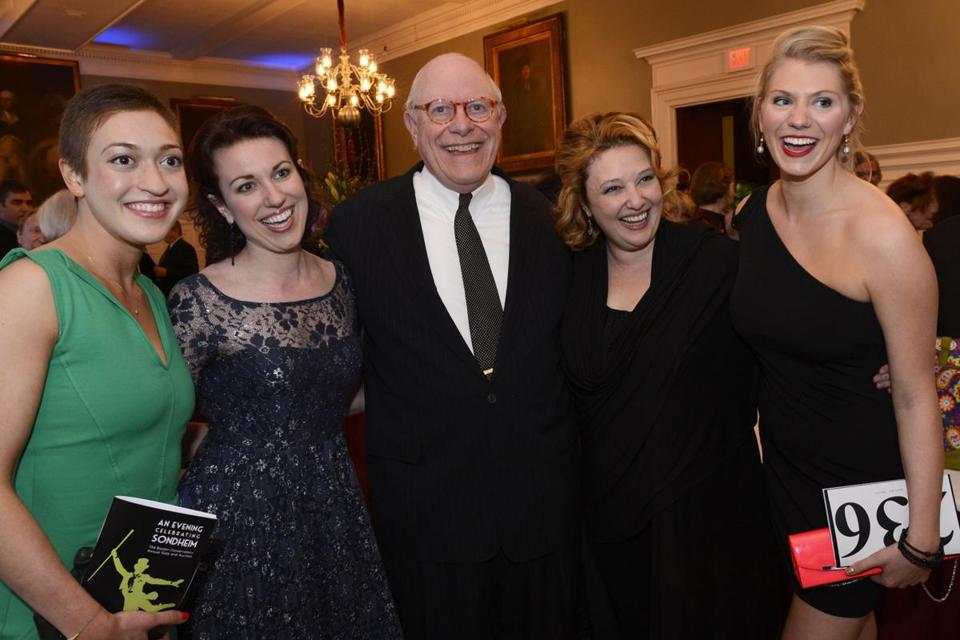 From left: Lauren Csete, Liz Hayes, Laura Marie Duncan, and Elyse Collier, with Boston Conservatory board chairman Al Houston.