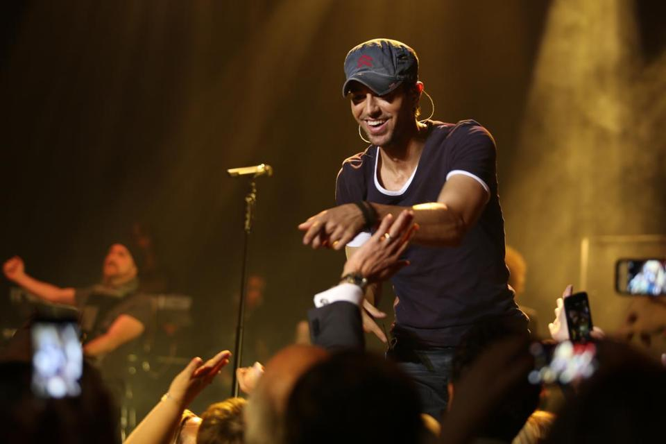 Enrique Iglesias performed at a private party for Emirates Airline at the Citi Wang Theatre.