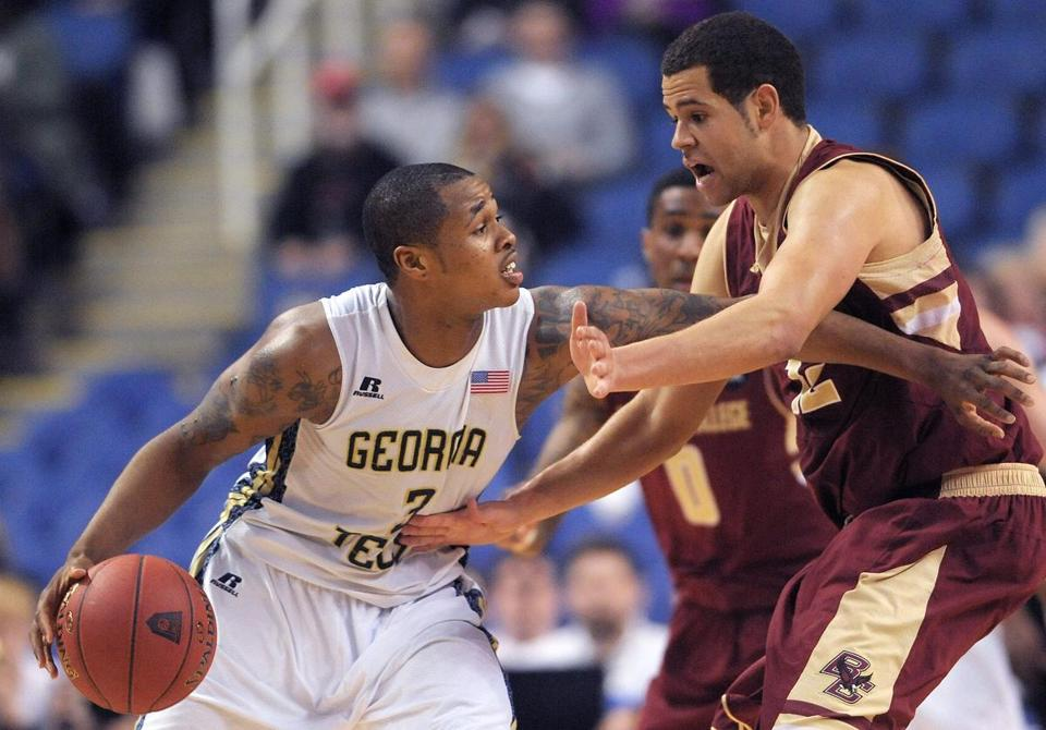 Georgia Tech forward Marcus Georges-Hunt faced off with Boston College forward Ryan Anderson.