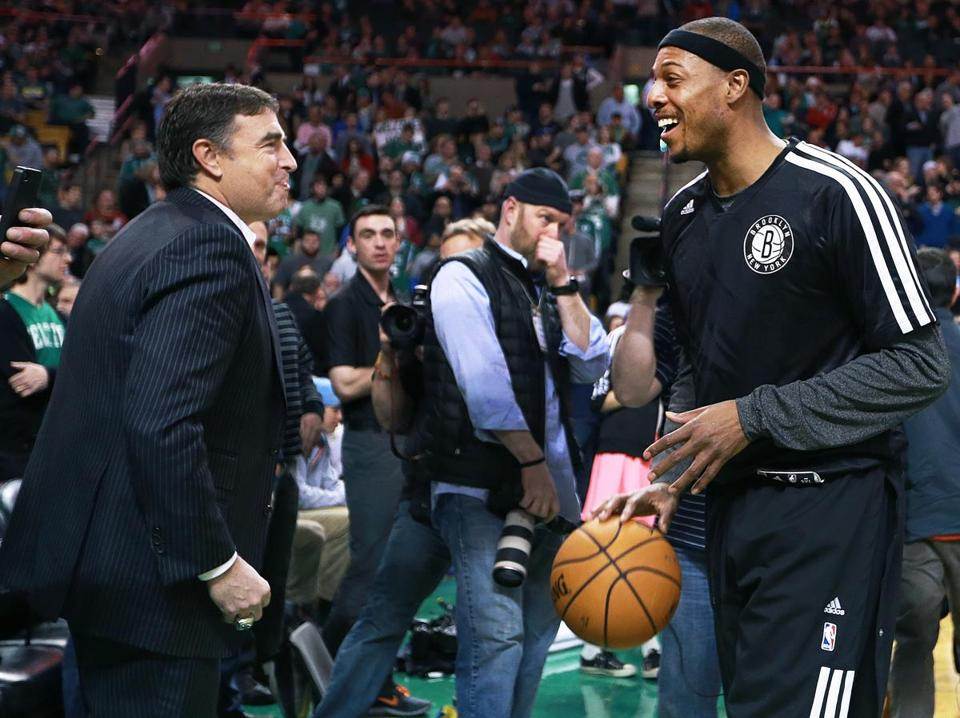 Celtics owner Wyc Grousbeck (left), shown greeting former Celtic Paul Pierce before a game at TD Garden, is optimistic about the franchise's future.