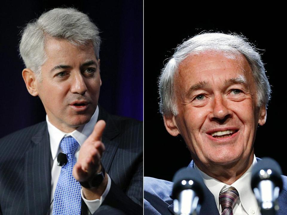 William A. Ackman, left, bet $1 billion on Herbalife's collapse. Senator Ed Markey, right, may have aided Ackman's cause.
