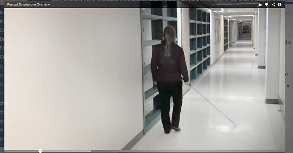 A video demonstration shows a blind person navigating hallways based on directions from her smartphone.