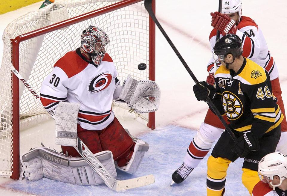 David Krejci watched as a shot by Jarome Iginla went past Carolina goalie Cam Ward for the second goal of the game.